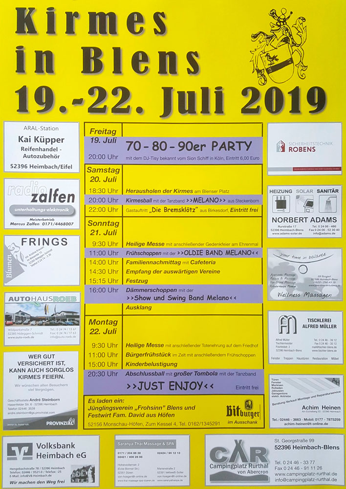 Flyer Kirmes in Blens 2019